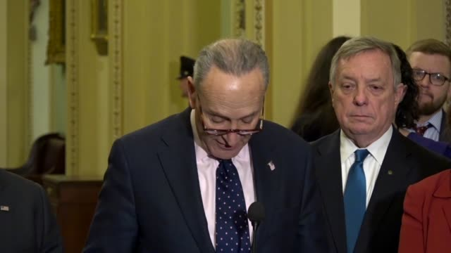 Senate Democratic leader Chuck Schumer of New York tells reporters at a weekly briefing that all know immigration is fraught with peril so everyone...