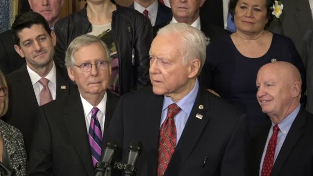Senate Finance Committee Chairman Orrin Hatch of Utah calls it a privilege to stand with leaders from the House and Senate at an enrollment ceremony...
