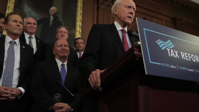 Senate Finance Committee Chairman Orrin Hatch speaks during the news conference Speaker of the House Paul Ryan and Senate Majority Leader Mitch...