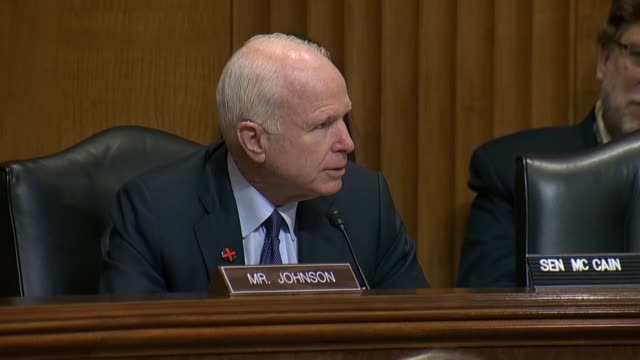 senate foreign relations committee chairman bob corker of tennessee recognizes arizona senator john mccain is one of the crankcase members of the... - ashton kutcher stock videos & royalty-free footage