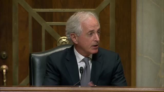 Senate Foreign Relations Committee Chairman Bob Corker takes a long pause after the Senate Foreign Relations Committee voted on the nomination of...