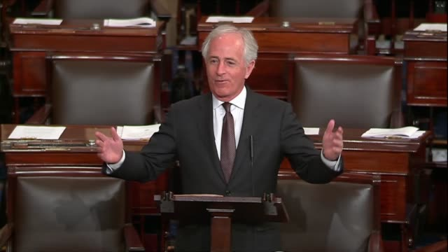 vídeos de stock, filmes e b-roll de senate foreign relations committee chairman of tennessee bob corker says in debate on the war powers resolution to withdraw troops from yemen that a... - etanol
