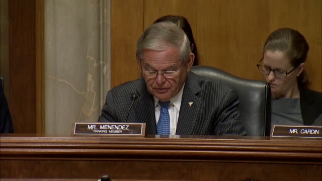Senate Foreign Relations Committee ranking Democrat Bob Menendez of New Jersey asks Secretary of State nominee Mike Pompeo whether he would advocate...