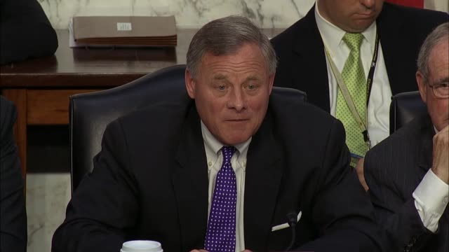 Senate Intelligence Committee Chairman Richard Burr of North Carolina interrupts a hearing of the Committee with intelligence leaders to say that...
