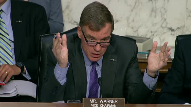 senate intelligence committee ranking democrat mark warner of virginia questions cia director nominee gina haspel about conduct during the bush years... - senate stock videos & royalty-free footage