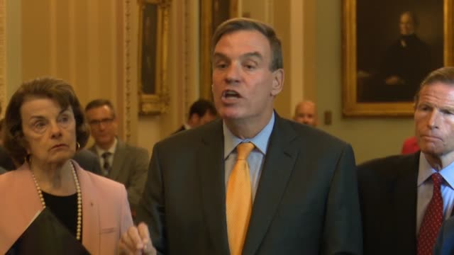 senate intelligence committee ranking democrat mark warner of virginia says at a weekly news conference by senate democrats to ensure that if a... - short phrase stock videos and b-roll footage