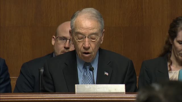 Senate Judiciary Committee Chairman Charles Grassley of Iowa opens an annual oversight hearing with FBI Director James Comey summarizing the role of...