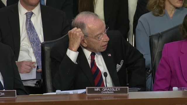 senate judiciary committee chairman chuck grassley asks democrats after an hour of chaos at the opening hearing on the supreme court nomination of... - court hearing stock videos & royalty-free footage