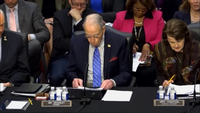 senate judiciary committee chairman chuck grassley begins a hearing of the committee to hear statements and vote on sending the nomination of judge... - senate judiciary committee stock videos & royalty-free footage