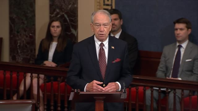 Senate Judiciary committee chairman Chuck Grassley concludes a speech on transparency efforts of government and media frenzy over investigations...