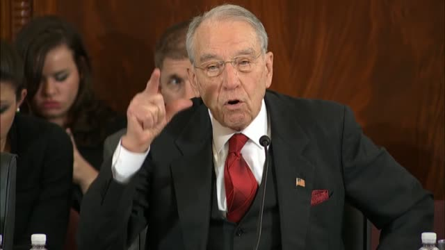 Senate Judiciary Committee Chairman Chuck Grassley of Iowa asks Senator Jeff Sessions of Alabama at his nomination hearing to become Attorney General...