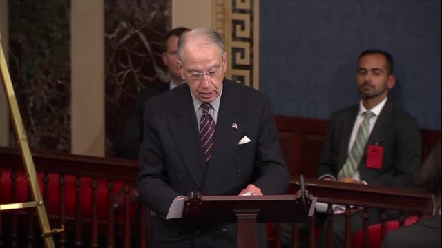 senate judiciary committee chairman chuck grassley of iowa says senator schumer did not speak on the floor earlier about the qualifications or... - brett kavanaugh stock videos and b-roll footage