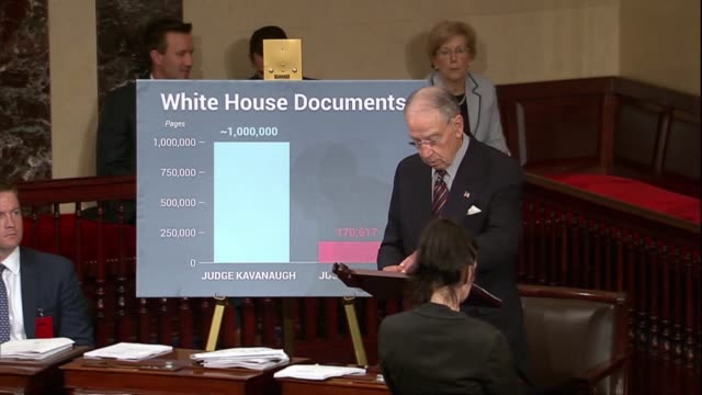 senate judiciary committee chairman chuck grassley of iowa says the senate received less than 180000 pages in review for supreme court justice elena... - brett kavanaugh stock videos and b-roll footage