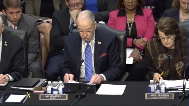 senate judiciary committee chairman chuck grassley reads from a prepared statement at a meeting of the senate judiciary committee prior to a vote on... - senate judiciary committee stock videos & royalty-free footage