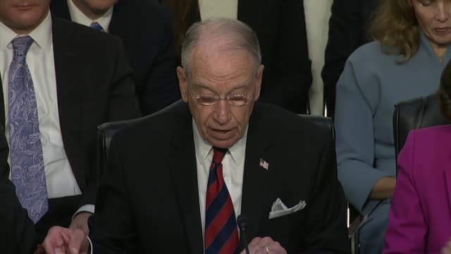 senate judiciary committee chairman chuck grassley resumes his prepared statement on the opening day of the nomination hearing for supreme court... - brett kavanaugh stock videos and b-roll footage