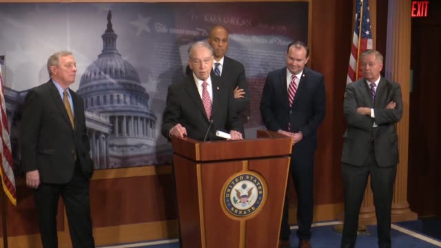 Senate Judiciary Committee Chairman Chuck Grassley says at a bipartisan press conference after passage of criminal justice reform called the First...