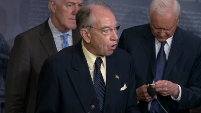 senate judiciary committee chairman chuck grassley tells reporters at a news conference as the supreme court nomination of judge brett kavanaugh was... - artificial stock videos & royalty-free footage