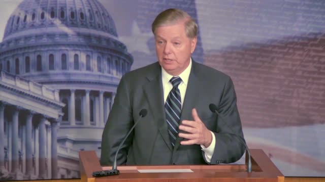 senate judiciary committee chairman lindsey graham emphasizes at a news conference where he compares the impeachment process for bill clinton with an... - juror law stock videos and b-roll footage