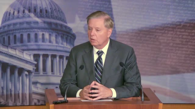 senate judiciary committee chairman lindsey graham is asked by a reporter at a news conference where he compares the impeachment process for bill... - witness stock videos & royalty-free footage
