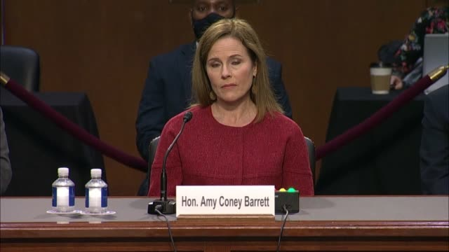 senate judiciary committee chairman lindsey graham of south carolina asks supreme court nominee amy coney barrett if she felt she should recuse... - politics abstract stock videos & royalty-free footage