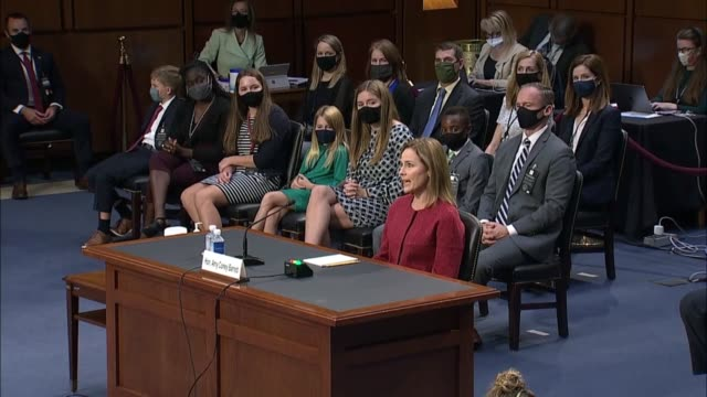 senate judiciary committee chairman lindsey graham of south carolina asks concluding an exchange with supreme court nominee amy coney barrett how it... - privacy stock videos & royalty-free footage