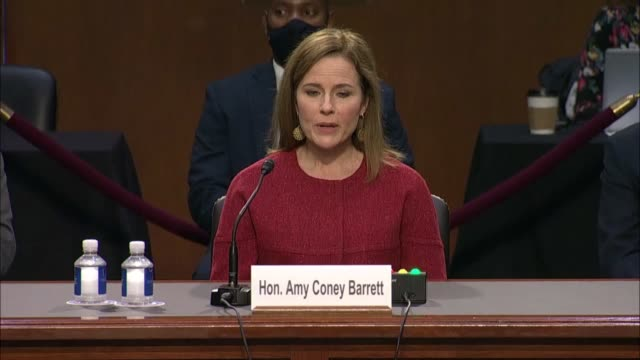 senate judiciary committee chairman lindsey graham of south carolina continues questioning supreme court nominee amy coney barrett about substantive... - short phrase stock videos & royalty-free footage