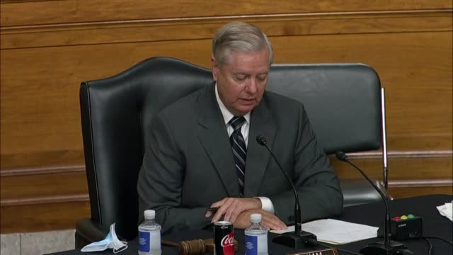 senate judiciary committee chairman lindsey graham of south carolina asks at a business meeting on reporting the supreme court nomination of judge... - nomination stock videos & royalty-free footage