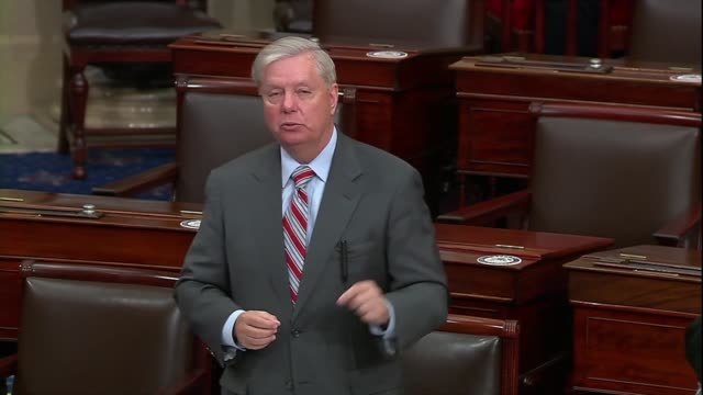 senate judiciary committee chairman lindsey graham of south carolina says during a 30 hour floor debate before confirming seventh circuit judge amy... - partisan politics stock videos & royalty-free footage