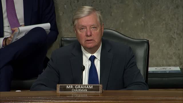 senate judiciary committee chairman lindsey graham of south carolina says at a hearing to facebook and twitter founders mark zuckerberg and jack... - 創始者点の映像素材/bロール