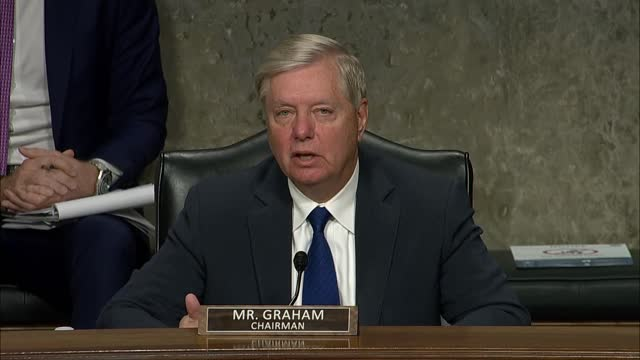senate judiciary committee chairman lindsey graham of south carolina says at a hearing with facebook and twitter founders mark zuckerberg and jack... - 創始者点の映像素材/bロール
