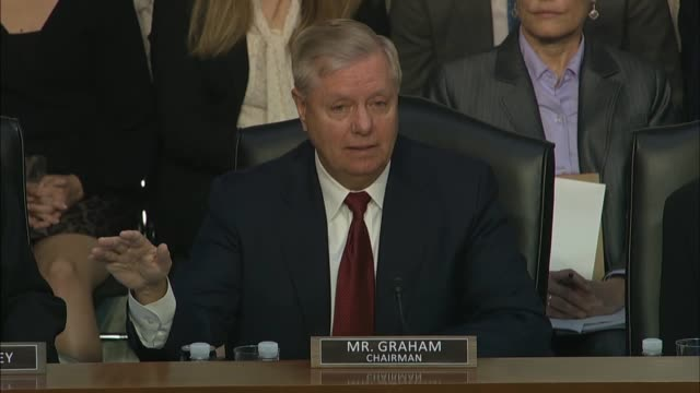 senate judiciary committee chairman lindsey graham says at a hearing with justice department inspector general michael horowitz about how the fbi... - christopher a. wray stock videos & royalty-free footage