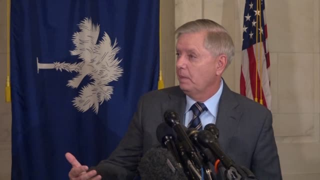 senate judiciary committee chairman lindsey graham south carolina tells reporters at a media availability outside his office of an inquiry into fisa... - christopher a. wray stock videos & royalty-free footage