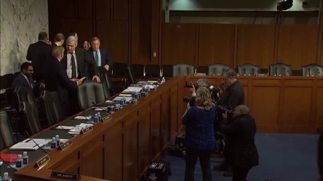 senate judiciary committee members await resumption of a committee hearing with justice department inspector general michael horowitz about his probe... - michael horowitz stock videos & royalty-free footage