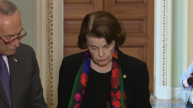 senate judiciary committee ranking democrat dianne feinstein of california tells the press after reviewing and fbi report of a supplemental inquiry... - senate judiciary committee stock videos & royalty-free footage