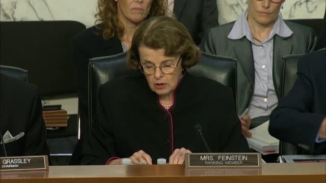 senate judiciary committee ranking member dianne feinstein said during her opening statement that department of justice inspector general michael... - michael horowitz stock videos & royalty-free footage