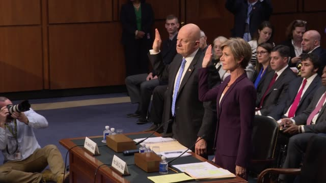 senate judiciary hearing on russian interference in election 2016 sally yates and james clapper they arrive and raise their right hands to be sworn... - senate judiciary committee stock videos & royalty-free footage