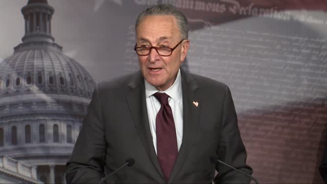 senate majority leader chuck schumer of new york tells reporters at weekly news conference it was great to have presidential biden and treasury... - mistake stock videos & royalty-free footage