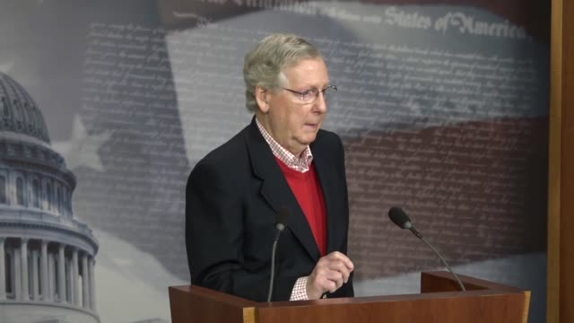 senate majority leader mitch mcconnell answers a reporter's question at a yearend press conference about legislative priorities in 2018 that he will... - social security stock videos & royalty-free footage