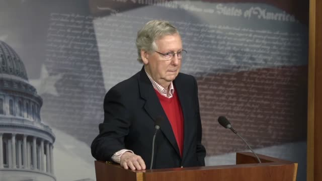 Senate Majority Leader Mitch McConnell answers a reporter's question at a yearend press conference about his relationship with President Donald Trump...