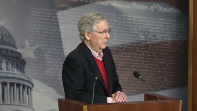 Senate Majority Leader Mitch McConnell answers a reporter's question at a yearend press conference about the politics of the 2018 midterm election...