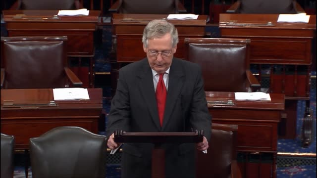senate majority leader mitch mcconnell critiques a decadeold maxim about the economy in peacetime and wartime citing threats during discussion on the... - peacetime stock videos & royalty-free footage