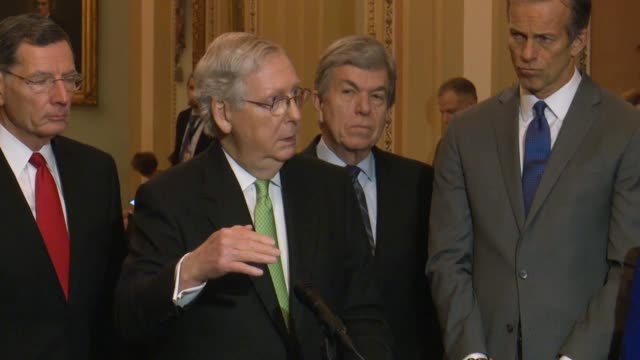 senate majority leader mitch mcconnell is asked by a reporter at a weekly press conference about senators having convened in the old senate chamber... - politician stock videos & royalty-free footage