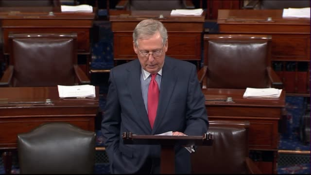 Senate Majority Leader Mitch McConnell of Kentucky begins a floor session after the August summer break extending sympathies to those in Texas...