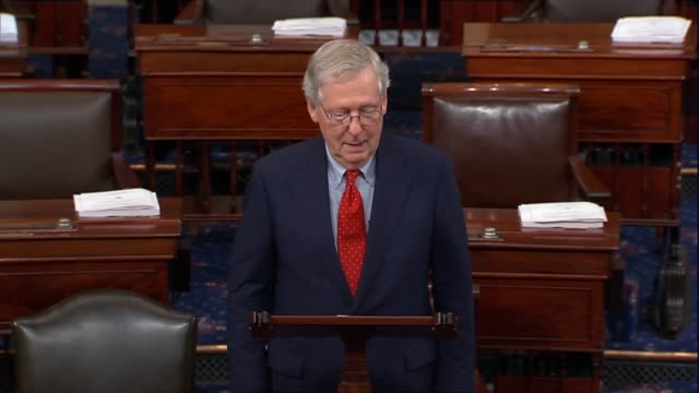 Senate Majority Leader Mitch McConnell of Kentucky opens a floor speech hours before President Donald Trump announced a nominee to the Supreme Court...