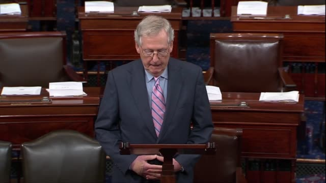 Senate Majority Leader Mitch McConnell of Kentucky pauses to express gratitude for extraordinary service that Justice Anthony Kennedy offered the...