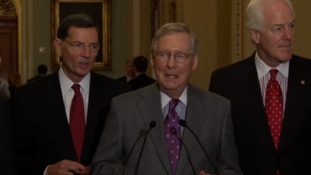 Senate Majority Leader Mitch McConnell of Kentucky repeats past replies to reporters that he would not involve himself in the 2016 presidential...