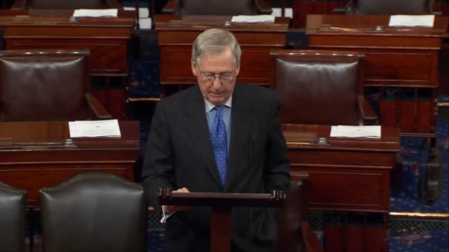 Senate Majority Leader Mitch McConnell of Kentucky responds to military action taken by President Donald Trump to deter the Assad regime in Syria...