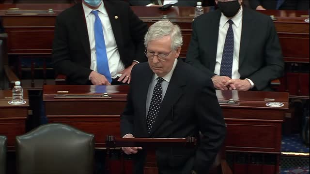 senate majority leader mitch mcconnell of kentucky says after senate retreat to debate objection to electoral college ballot count for joe biden from... - partisan politics stock videos & royalty-free footage