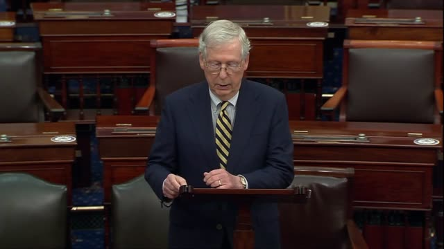 senate majority leader mitch mcconnell of kentucky says continuing remarks about the vacancy left by late supreme court justice ruth bader ginsburg... - vacancyサイン点の映像素材/bロール