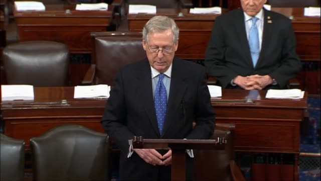 senate majority leader mitch mcconnell of kentucky says days after north korea conducted a test launch of an intercontinental ballistic missile... - united states department of defense stock videos and b-roll footage